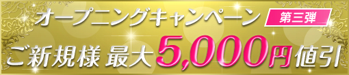 オープニングキャンペーン第三弾!!☆★ご新規様最大5000円値引☆★